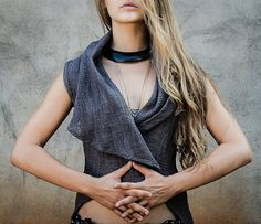 Rain drop wrap vest elegant tribal jacket Long by alekaidesign