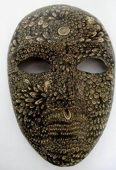 Black Ink On Paper Mache Mask