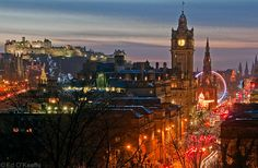 Balmoral Hotel and Clock Tower, Edinburgh, Scotland. (This is the hotel where J. Rowling finished writing the Harry Potter series. Edinburgh New Year, Edinburgh Hogmanay, Edinburgh Castle, Edinburgh Scotland, Edinburgh Christmas, Castle Scotland, Christmas Markets, Oh The Places You'll Go, Places To Travel
