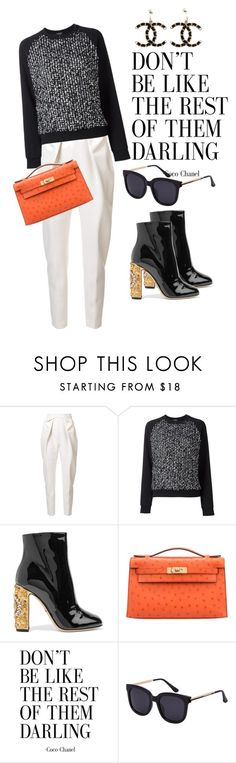 """Untitled #4890"" by omahtawon ❤ liked on Polyvore featuring Delpozo, Giambattista Valli, Dolce&Gabbana, Hermès and Chanel"
