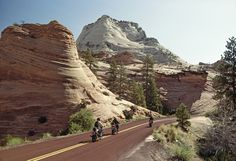 Rising between two rocky buttes is the majestic rock formation called the Great White Throne of Zion National Park.