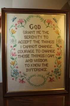 Your place to buy and sell all things handmade Serenity Prayer, Embroidery Stitches, Needlepoint, Vintage Items, Prayers, My Etsy Shop, Cross Stitch, Vibrant, Faith