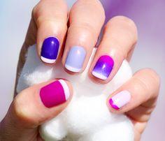Pink, Blue & Purple nails