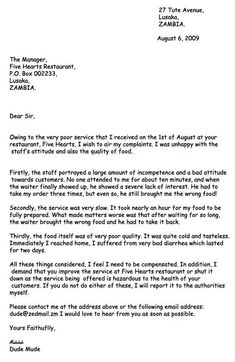 Letter Writing Complaint Sample For Bad Service Useful Phrases