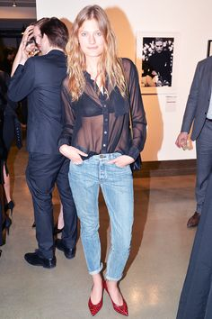 Constance Jablonski in an Equipment shirt, Rag & Bone jeans, and Saint Lauren bag and shoes. // Great Friday night outfit.