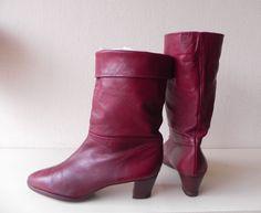 Salamander kalfsleren rode laarzen (nr. 1385) #red #vintage #boots