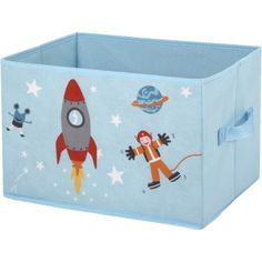 Panier de rangement bleu design fusée pour enfants, dim. 35x26xh.23 cm, carton et polypropylène.