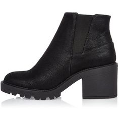 River Island Black textured chunky ankle boots ($49) ❤ liked on Polyvore featuring shoes, boots, ankle booties, chaussures, short boots, block heel booties, high heel booties, black high heel booties and black ankle booties