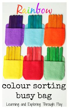 This color sorting busy bag is a way for kids to learn through playing. You could use this busy bag for long trips or at home. This hands on game will teach toddlers and preschoolers about colors. Toddler Learning Activities, Sorting Activities, Infant Activities, Toddler Preschool, Colour Activities For Toddlers, Family Activities, Indoor Activities, Toddler Color Games, 3 Year Old Montessori Activities
