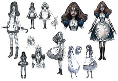 View an image titled 'Alice Dresses Art' in our Alice: Madness Returns art gallery featuring official character designs, concept art, and promo pictures. Game Character Design, Character Concept, Character Art, Character Inspiration, Alice Madness Returns, Alice In Wonderland Artwork, Alice Liddell, Japanese Characters, Arte Horror