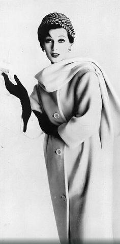 Dovima in Worumbo white wool fleece coat, Harper's Bazaar, January 1959