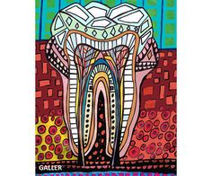 Surreal tooth Art Art Print Poster by Heather Galler Medical Illustration Anatomical Anatomy Chart Teeth Dental Dentist (HG857)