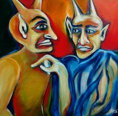 der Teufel und sein Lehrling - 70 x70 cm Acryl auf LW, © Anja Huehn 2016