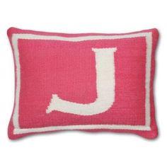 Modern Throw Pillows   Woven Wool Junior Pink Letter Pillow   Jonathan Adler