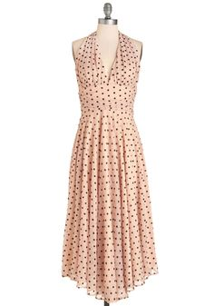 Amour Than Anything Dress. You feel lovelier than words can say as you twirl in this gauzy, dusty-rose frock by Bettie Page. #blush #modcloth