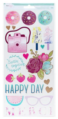 Dear Lizzy - Serendipity Collection - Rose Gold Foil Stickers - 54 Pieces…