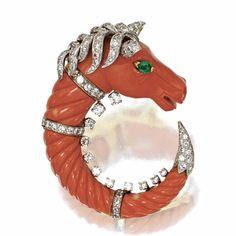 Coral, diamond and emerald 'horse' brooch, David Webb