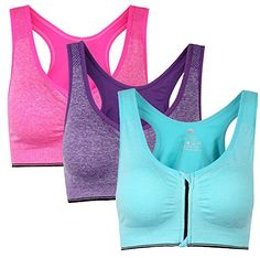 e97a8e222ce4d Womens Zip Front Padded Sports Bra Racerback Yoga bras for Women with  Headband Set Pack of
