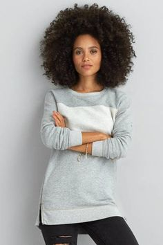 AEO Oversized Crew Sweatshirt  by AEO | Top priority: This sweatshirt layer is crucial to your summer look.  Shop the AEO Oversized Crew Sweatshirt  and check out more at AE.com.