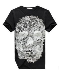 Men Fashion Printed Skull O-Neck Short Sleeve Shirt Summer Slim Brand  Clothing Men Swag Wear at TheOnlineClothingStore 43b4993e728c