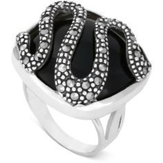 Genevieve & Grace Sterling Silver Ring Onyx (18 x 18mm) and Marcasite... ($48) ❤ liked on Polyvore