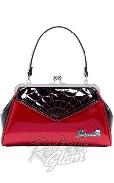 Sourpuss Psychobilly Backseat Baby Spiderweb Purse in Black & Red