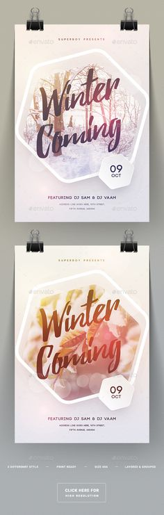 Winter Coming Party Flyer  — PSD Template #christmas party #template #4.25x6.25…
