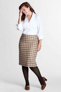 e3a5d7a662e Women s Plus Size Pattern Skirt with Kick Flounce from Lands  End