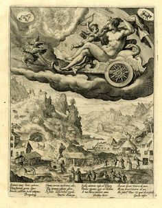 Venus, she reclines on a swan decorated chariot drawn by two doves and is accompanied by Cupid; below is a tranquil landscape with people going about their business and in the foreground a fête champêtre scene; on full sheet; after Maarten de Vos