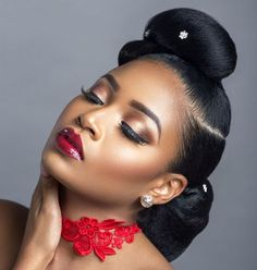 Charis Hair presents 'Retro to Afro' Hair Inspiration Bridal Makeup Looks, Bride Makeup, Wedding Hair And Makeup, Bridal Beauty, Hair Makeup, Makeup Bags, Makeup Brushes, African Hairstyles, Afro Hairstyles