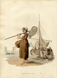 """Shrimper"" by William Henry Pyne, published by williams Miller, British, 1808."