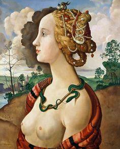 Sandro Botticelli - Copy of Simonetta Vespucci (1453-76) by Sandro Botticelli (1444/5-1510) (oil on canvas)