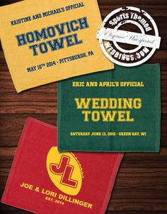 Custom Designed Rally Towels for Baseball Themed Weddings - Get a quote for your wedding towels today!