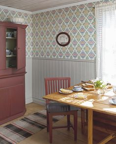 Gästgivars from Duro Scandinavian Cottage, Swedish Cottage, Scandinavian Furniture, Scandinavian Design, Swedish Wallpaper, Of Wallpaper, Swedish Interiors, Hobby House, Old Houses