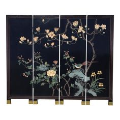 It's a petite size and commonly was used for a fireplace screen. Would be great repurposed as wall art. Floral and bird motif with a vibrant array of colors. Asian Interior Design, Asian Design, Twin Bed Furniture, Plywood Furniture, Painted Furniture, Modern Furniture, Furniture Design, Chinoiserie, Folding Screen Room Divider