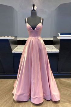 alta costura 2020 Simple v neck pink satin long prom dress pink formal dress Does Practical Parentin Pink Formal Dresses, Formal Evening Dresses, Satin Dresses, Dress Formal, Pink Evening Dress, Pink Dress, Rosa Satin, Backless Prom Dresses, The Dress