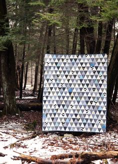 Freshly Handmade: Black and White Triangle Quilt: Finished