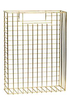 Revistero de metal: Revistero rectangular de metal con asa a cada lado. Medidas…