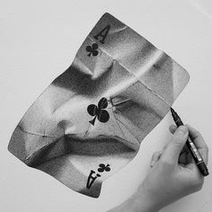 23 Playing Cards Pencil Drawing Ideas - New Dotted Drawings, Realistic Pencil Drawings, Cool Art Drawings, Pencil Art Drawings, Art Drawings Sketches, Drawing Ideas, Cj Hendry, Stippling Drawing, Ace Card
