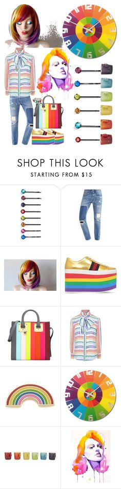"""""""Rainbow 🌈"""" by muzicmag ❤ liked on Polyvore featuring beauty, Cara, Gucci, Sophie Hulme, Georgia Perry, NeXtime, Le Creuset, hairtrend and rainbowhair"""