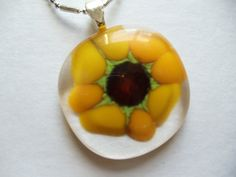 Glass fused Sunflower pendant by sherrylee16 on Etsy, $20.00