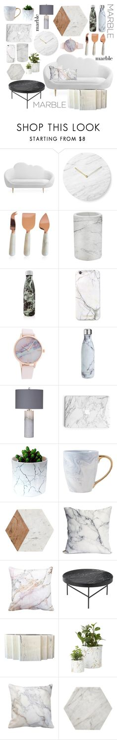 """Marble"" by lav-en-der-leaves ❤ liked on Polyvore featuring interior, interiors, interior design, home, home decor, interior decorating, Menu, Caravan, Threshold and S'well"