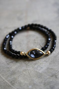 Charcoal Gray Bezel with Black Onyx Stones Bracelet Set
