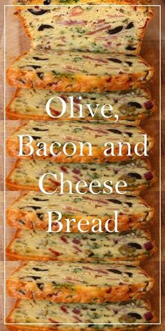Olive, Bacon and Cheese Bread Easy Dinner Recipes, Easy Recipes, Keto Recipes, Cooking Recipes, Easy Meals For Two, Good Food, Yummy Food, Cheese Bread, Desert Recipes