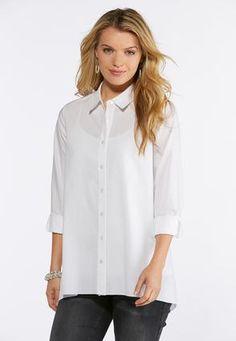 5974230f8694 Cato Fashions Plus Size White Button Down Tunic Top #CatoFashions Cato  Fashion Plus Size,