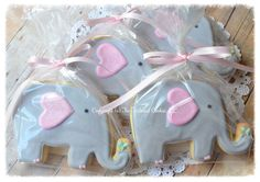 Elephant Baby Shower Shortbread Sugar Cookie Favors via Etsy