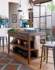 Like a treasured vintage find or a custom-designed piece, this elegant kitchen island serves as a rustic yet refined workstation for the home cook or entertaining enthusiast. Bluestone is crafted with reclaimed pine from old buildings and doors. Kitchen Decorating, Diy Kitchen, Kitchen Dining, Open Kitchen, Kitchen Backsplash, Kitchen Ideas, Faucet Kitchen, Blue Backsplash, Kitchen Walls