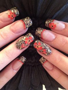 Leopard print and flowers freehand nail art
