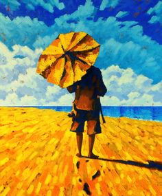 Eugen Semenyuk「Footprints in the Sand」 Sand Painting, Oil Painting On Canvas, Canvas Art, Original Art, Original Paintings, Umbrella Art, Umbrellas Parasols, Nature Paintings, Figurative Art