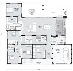 You might like this floor plan today! It's considered a farmhouse design because of the verandah and overall width. I like this layout. It seems to have everything in the right places. The laundry/mudroom/kitchen is great. I like the bench. House Plans One Story, New House Plans, Dream House Plans, The Plan, How To Plan, Home Design Floor Plans, Plan Design, Single Storey House Plans, 4 Bedroom House Plans